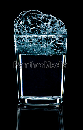 glass with foam inversely