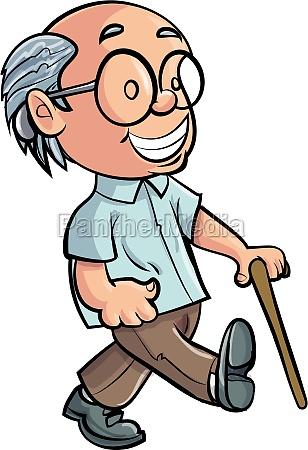 karikatur grossvater der mit einem stock