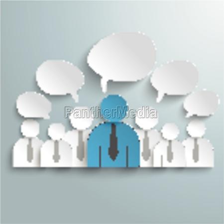 seven business humans speech bubbles piad