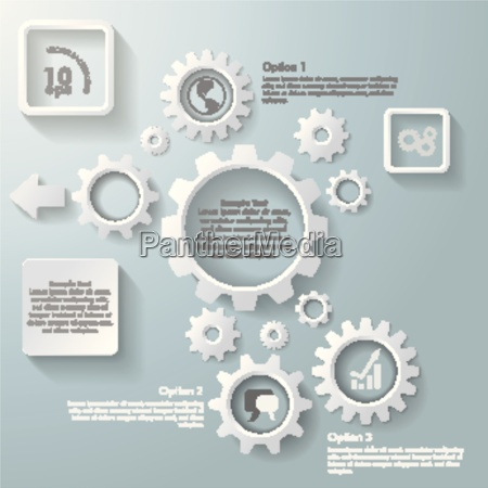 several white gears infographic