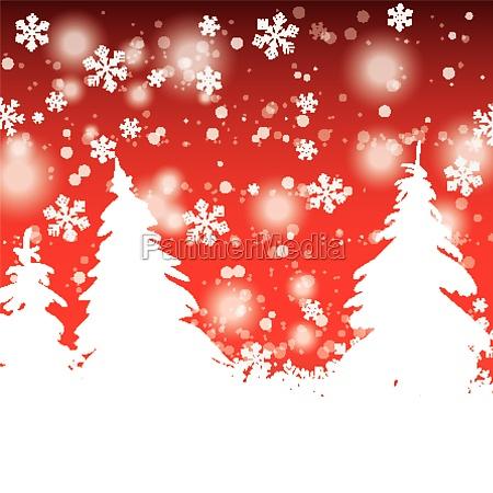schneebaeume weihnachtlicher roter hintergrund
