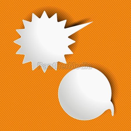 speech and shout bubbles orange stripes