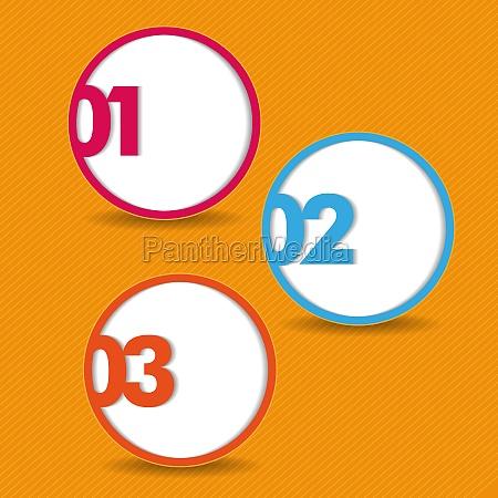 drei optionen orangenstreifen hintergrund