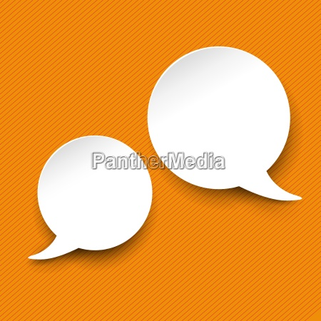 speech and thought bubble labels orange