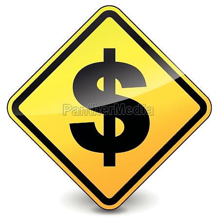 vector yellow dollar icon