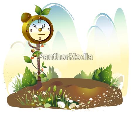 alarm clock in meadow