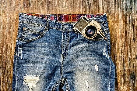 detail der vintage jeans mit klassischen