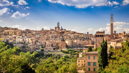 scenic view of siena town and
