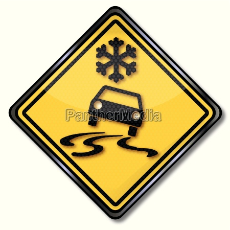 sign attention snow and ice