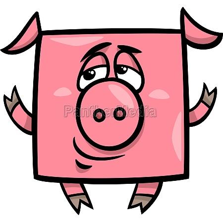 quadratische schwein cartoon illustration