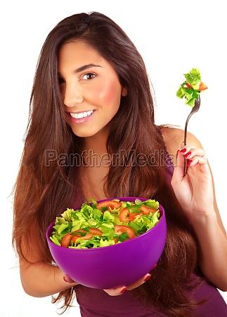 vegetarisch ernaehrng vegetarierin ernaehrungsweise blattsalat maedchen