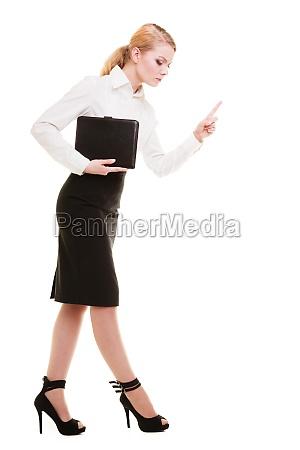 full length mad businesswoman teacher shaking