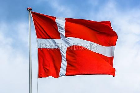 daenische flagge in roten und weissen