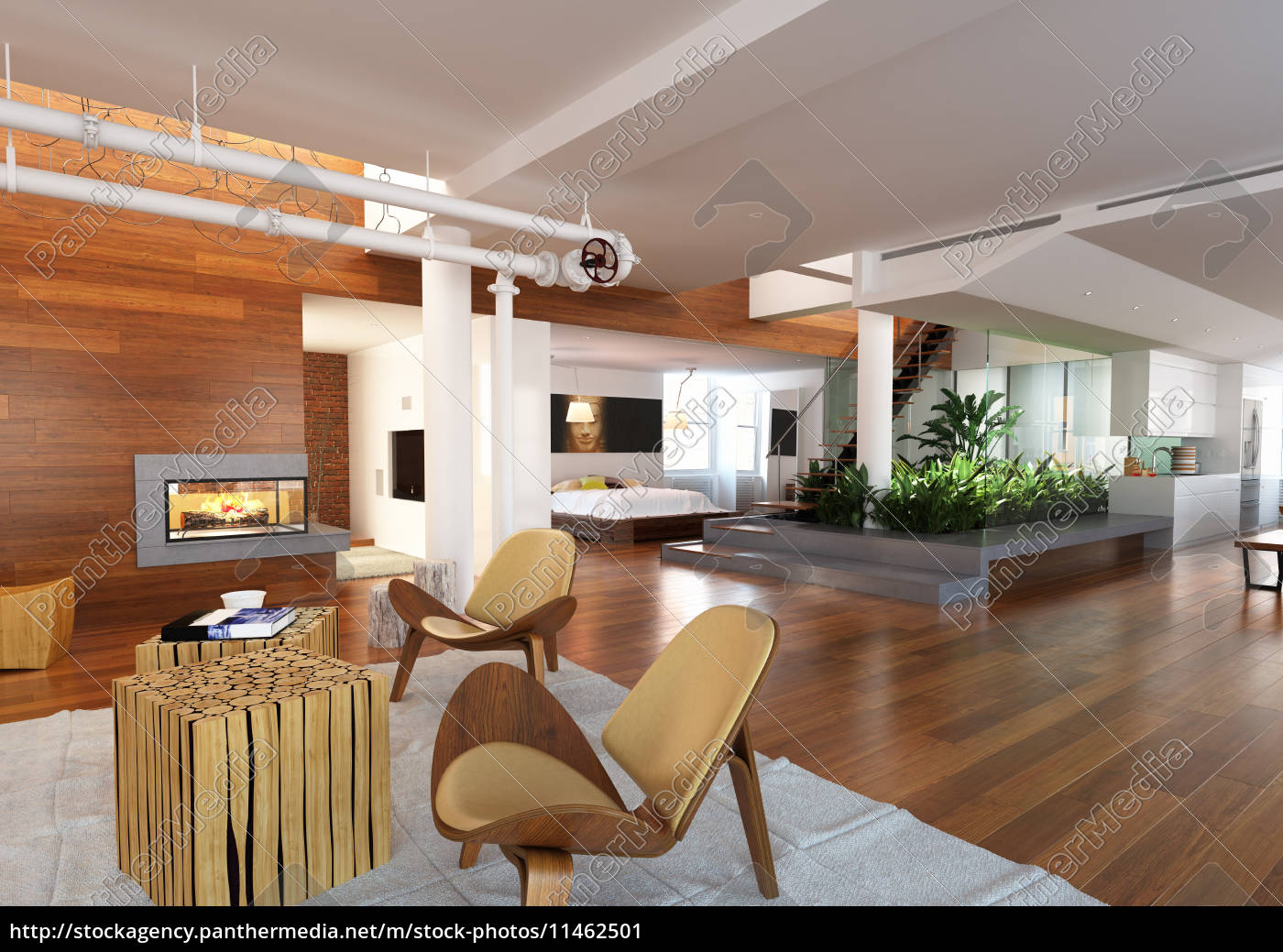 Modernes Haus mit Wohnzimmer, Schlafzimmer und Küche - Lizenzfreies ...