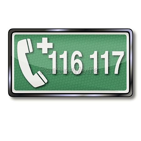 rettungszeichen mit notruf 116 117 und