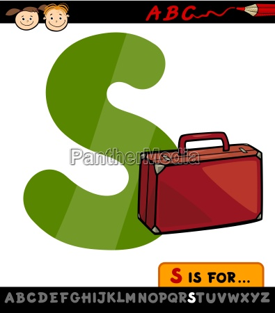 letter s with suitcase cartoon illustration