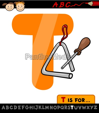 letter t with triangle cartoon illustration