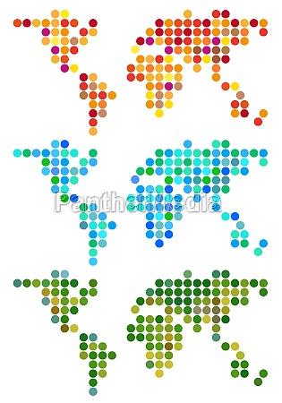 abstract dot world map vector set