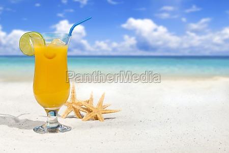 fruchtcocktail und seesterne am strand