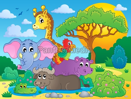 cute african animals theme image 8