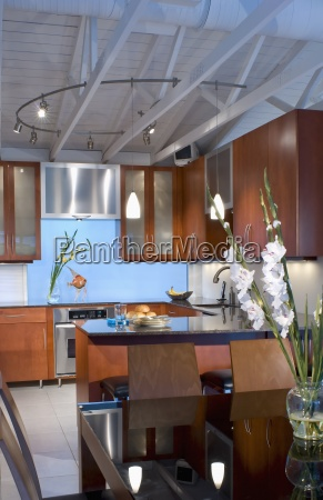 modern kitchen with rafters