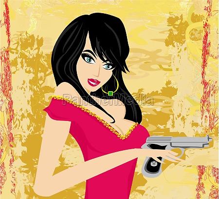 schoene babe holding gun