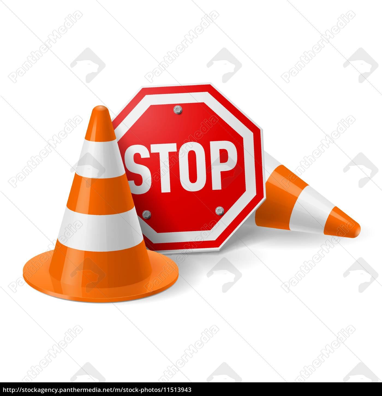 verkehrskegel, und, rote, stoppschild - 11513943