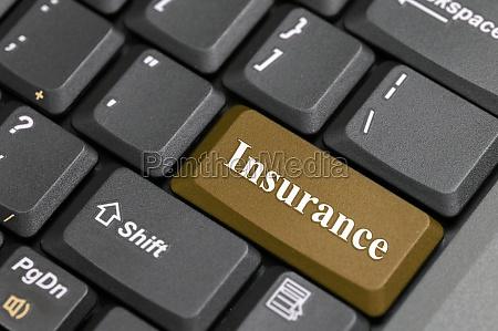 insurance key on keyboard