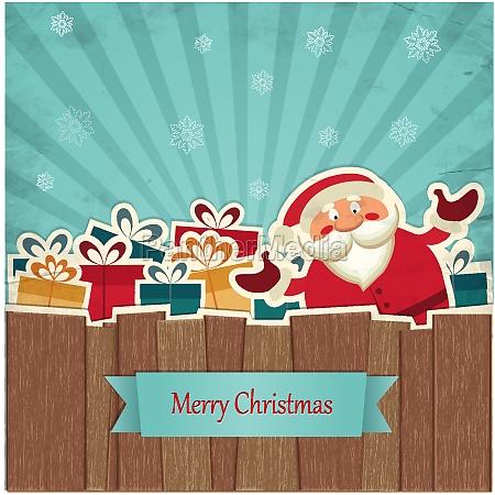 retro weihnachts hintergrund mit dem weihnachtsmann