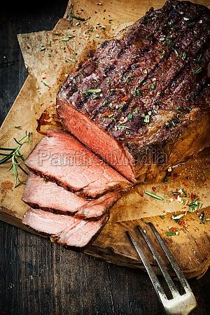 delicious tender rare roast beef