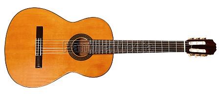 grossansicht des spanischen akustikgitarre