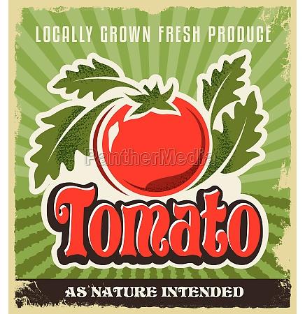 retro weinlesewerbungsplakat tomato zeichen und