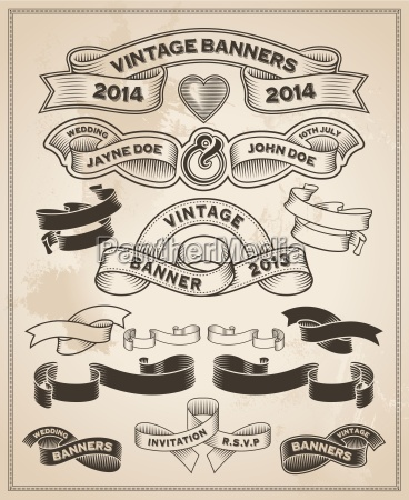 vintage retro scroll and banner set