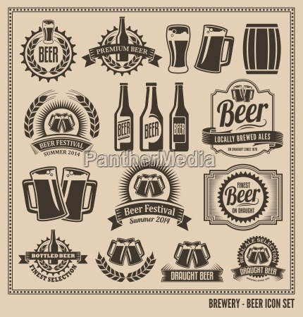 beer icon set labels posters