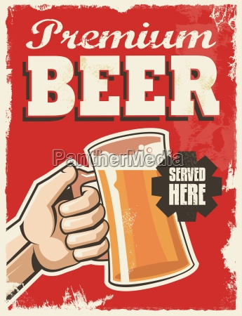 vintage retro beer poster metal
