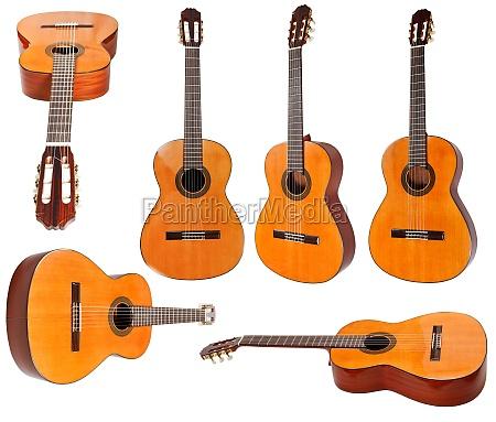 satz von klassischen akustischen gitarren isoliert