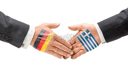 deutschland und griechenland reichen sich die