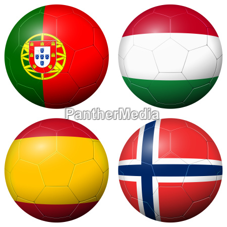 collection of soccer footballs country