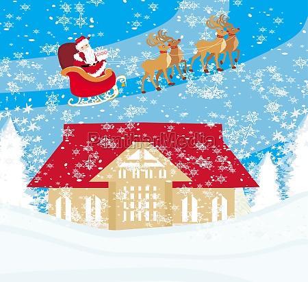 weihnachtsmann fliegt ueber die stadt