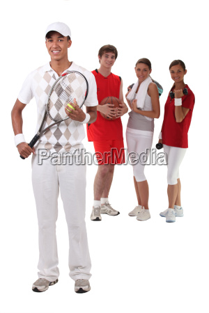 sporty people on white background