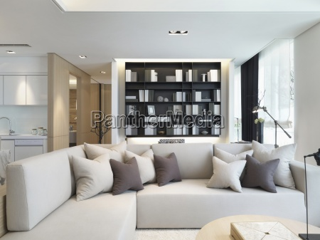 sectional sofa with throw pillows in
