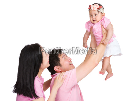 asian happy family throw up daughter