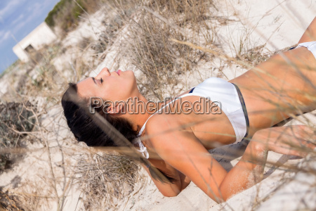 young attractive woman in bikini on