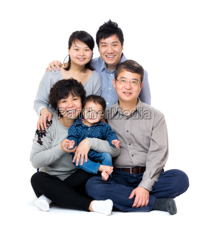 happy asian three generation family