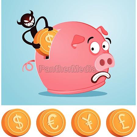 stealing money from piggybank