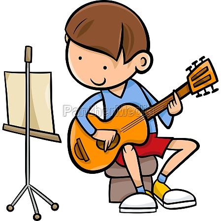 boy with guitar cartoon illustration