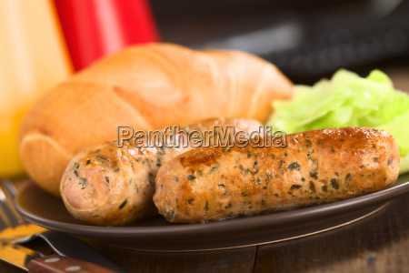 fried bratwurst with bun