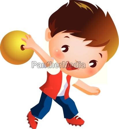 junge haelt bowlingkugel