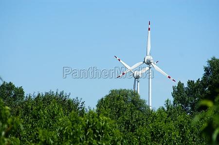 wind power turbine forest blue