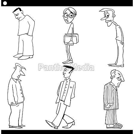 maenner zeichen gesetzt cartoon abbildung